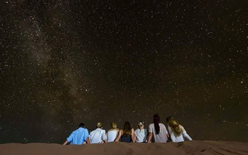 See and watching the stars during the  night at the  desert camp bivouac sahara